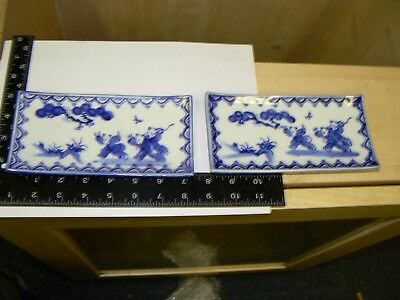 Antique Pair Of Chinese Oriental Tray Plates Hand Painted Blue White Signed