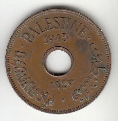 Palestine 10 Mils 1943 Copper Scarce         127A      By Coinmountain