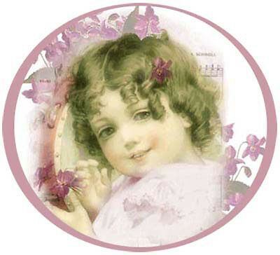 ViCToRiaN GiRL RouND PoRTraiT ShaBby WaTerSLiDe DeCALs