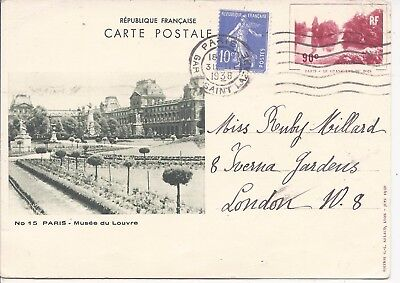 France 1935 90c Lac du Bois Republique Francaise 2 picture cards used