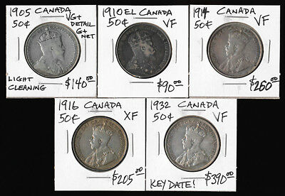 5 CANADA 50 CENTS 1905 to 1932(KEY DATE!!!) ### SEE PICTURES ### NO RESERVE