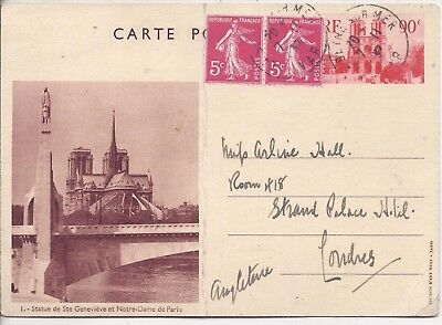 France 1935-36 90c picture stationery cards used x 4
