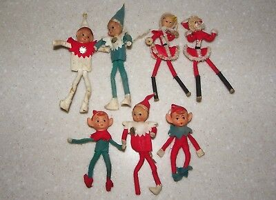 Lot of 7 ~ Elf & Mr. & Mrs. SANTA CLAUSE Vintage Felt Pixie ELVES Japan 1950's