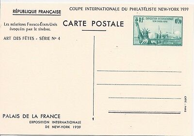France 1939 70c and 1f25 International Exhibition New York cards unused