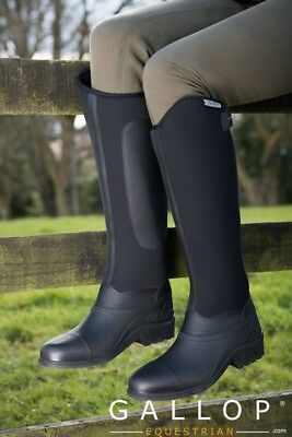 Gallop Everest Neoprene Long Riding boots Fleece lined, Black 4, 5, 6, 7,8 UK
