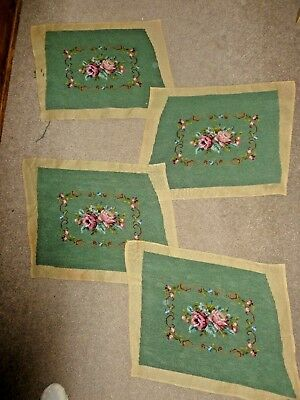 4 matching vintage hand-stitched wool tapestries floral on green panels seat cov