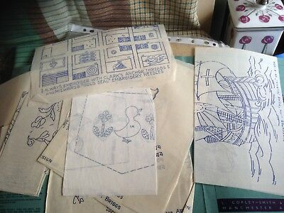 Large lot of Vintage Embroidery Transfers, Iron-on, paper.