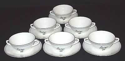 SIX Figgjo Flint PINK ROSE Cream Soup Bowls and Stands - Made In Norway