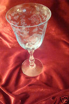 FOSTORIA  Navarre Blue Etched Crystal Water Goblet This is the LAST one!