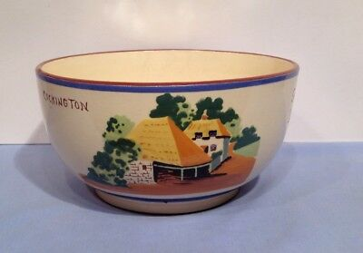 Torquay Devon Ware Pottery Yellow Roof Cottage Fruit Bowl