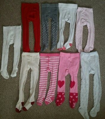 bundle of baby girls tights 12-18 months pink red white grey hearts stripes
