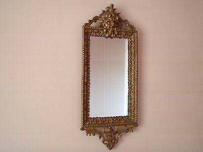 Original Victorian Antique Solid Bronze Mirror With Bacchus Head  c. 1870
