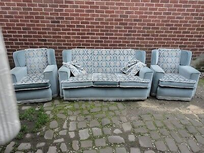 3 piece suite vintage 1950s has been reupholsted to meet fire safety standards