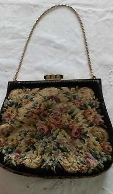 vintage tapestry little bag with mirror
