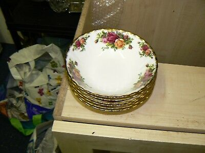 Old  Royal Albert Old Country Roses 1962  Cereal Oatmeal Pudding Bowls 6 Avail