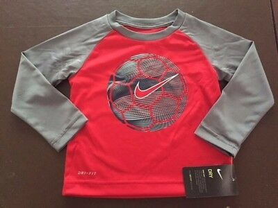 NWT Nike Boys Toddler Long Sleeve Dri Fit Shirt Red Gray Size 2T $28 Very Cute!