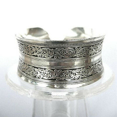 Unisex Lucky Holiday Gift Tibet Silver Men's Boys Carved Patterns Cuff Bracelet