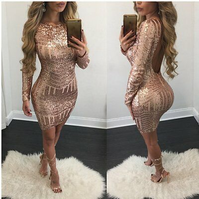 New Women's Bandage Bodycon Long Sleeve Club Party Cocktail Mini Dress Backless