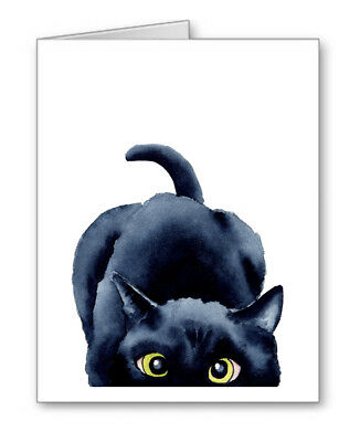 SNEAKY BLACK CAT Note Cards With Envelopes