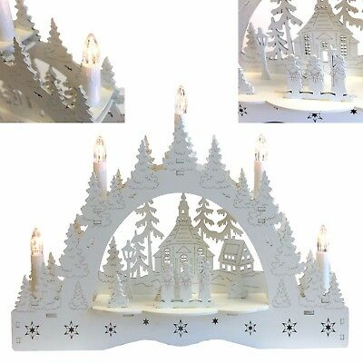 5 LED Wooden Candle Bridge Lights Holder Home Window Table Christmas Decoration
