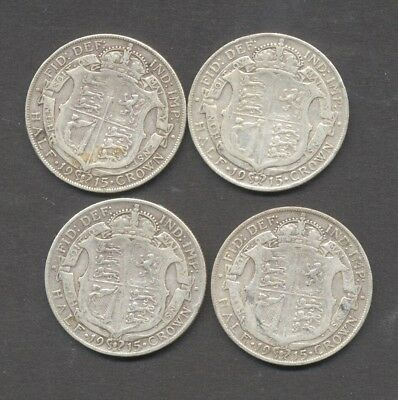 GREAT BRITAIN , GEORGE V , pre 1920 , .925 SILVER , 1915 HALF CROWN x 4 ,