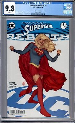Supergirl: Rebirth #1  Adam Hughes Variant  Sold Out 1st Print   CGC 9.8