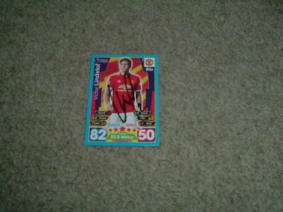 Victor Lindelof - Manchester United - Signed 17/18 Match Attax Trade Card