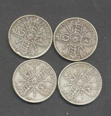 GREAT BRITAIN , GEORGE V , pre 1920 , .925 SILVER , 1914 FLORIN/2 SHILLING x 4