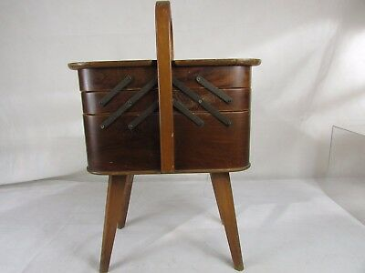 Vintage Large Amorco Wooden Sewing Box##str Wh Sd