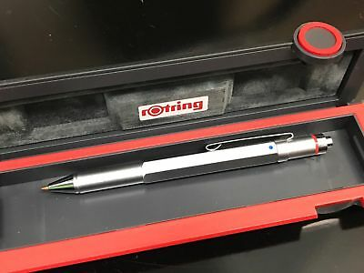 Rotring 600 Trio Ballpoint  Pen Silver  Blue, Red, & Pencil   In Box  **