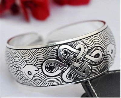 Unisex Lucky Holiday Gift Tibetan Silver Chinese Knot Pattern Cuff Bracelet