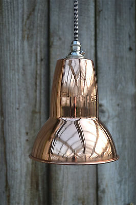 Cool 1930's design small pendant hanging light polished copper shade CAPSR4
