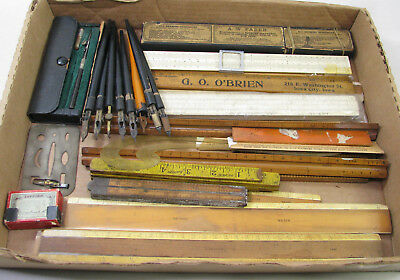 Large Lot Of Vintage Drafting Tools Parts