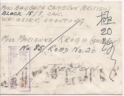 China Japan Occupation 1945 censored cover WeiHsien Camp Shantung to Tientsin
