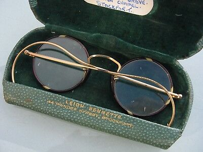 Vintage 1930's Childrens Spectacles Glasses In Case Faux Tortoiseshell Gold Plat