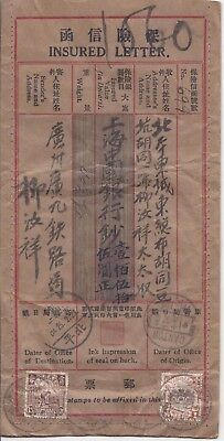 China  1925 Canton Insured Letter with missing stamps