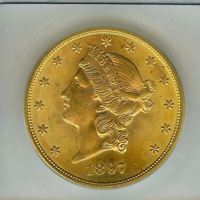 1897-S Liberty Head $20 Gold Double Eagle Icg Ms65  Extra Rare This Nice!