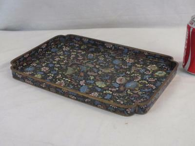 Fine 19Th C Chinese Cloisonne Butterflies Floral Bats Backed Tray