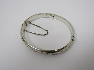 1969 Hallmarked 925 Sterling Silver Hinged Bangle - STA L1