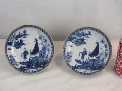 Pair 18Th C Chinese Porcelain Blue And White Fisherman Cormorant Saucer Dishes
