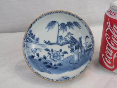 18Th C Chinese Porcelain Blue & White Flower Picking Figure Saucer Dish - Marked