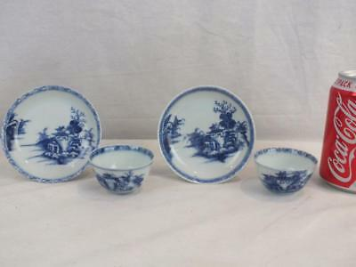 Pair Of Early 18Thc Chinese Christie's Nanking Cargo Teabowls & Saucers - Labels