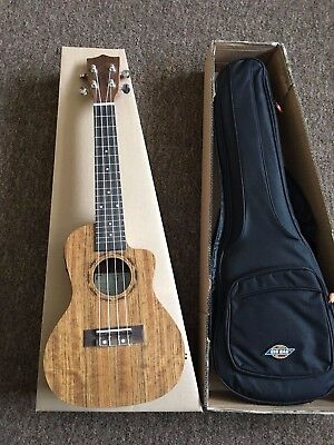 £180 Electro Acoustic Concert Ukulele in Ovankol w/ tuner preamp+ Fitted Gig Bag