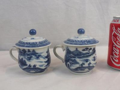 Pair 18Th C Chinese Porcelain Blue & White Custard Cups And Covers