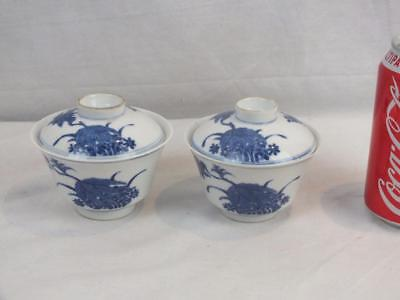 Pr Antique Chinese Six Character Marks Porcelain Blue & White Bowls & Covers