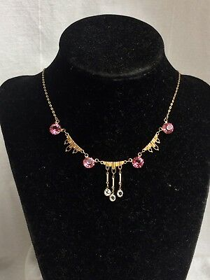 Lovely Vintage 1920s Art Deco Rolled Gold + Pink Paste Crystal Pendant Necklace