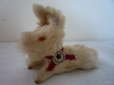 Small Vintage Original Terrier Dog Real Rabbit Fur Toys  Made in West Germany
