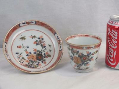 18Th C Chinese Porcelain Famille Verte Beaker Cup And Saucer