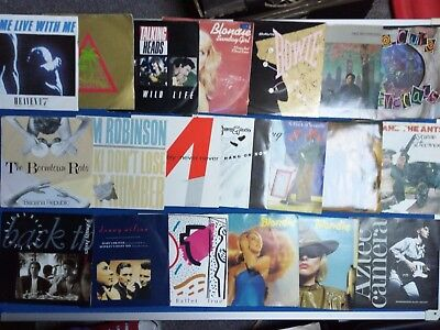 "Punk New Wave Job Lot Of 20 7"" Singles P/s Members Bowie Blondie Cure Heads Rats"