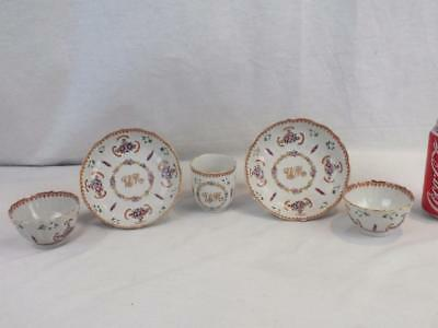 Pair Of 18Th C Chinese Porcelain 'wm' Monogrammed Teabowls, Saucers & Cup